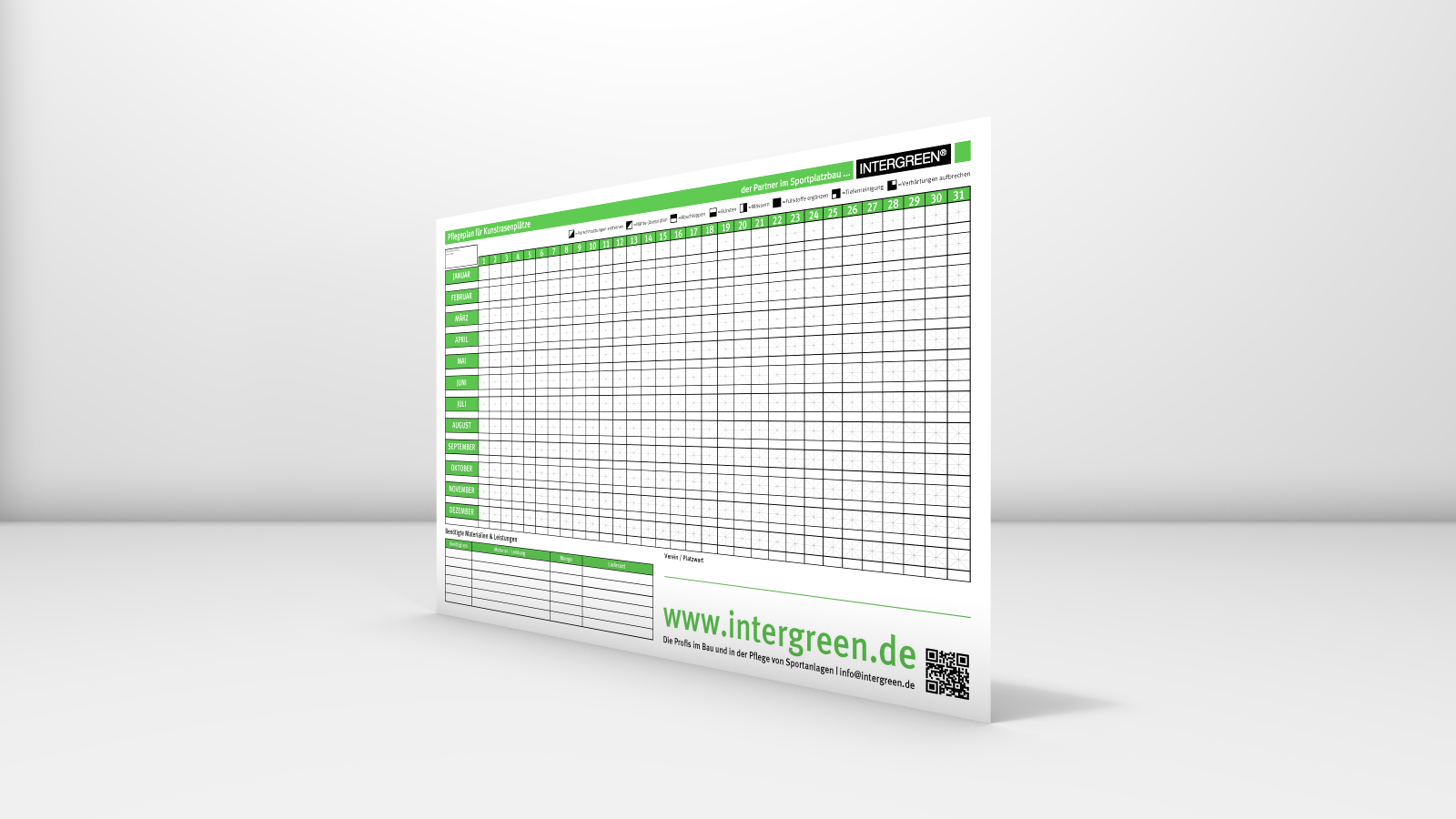 INTERGREEN BASIS WEB 20160129 001 Poster Pflegeplan Kunstrasen